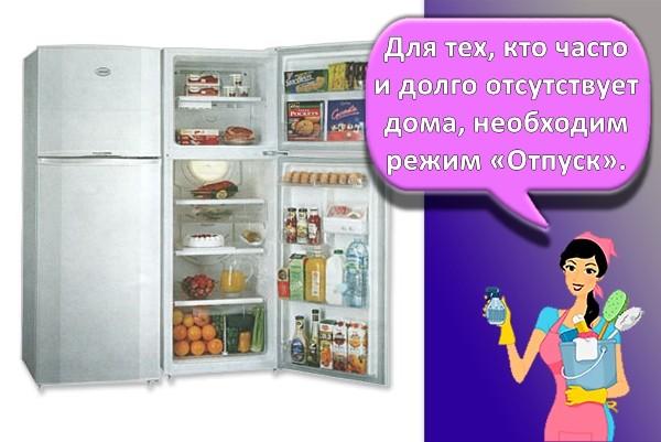 режим каникулы в холодильнике