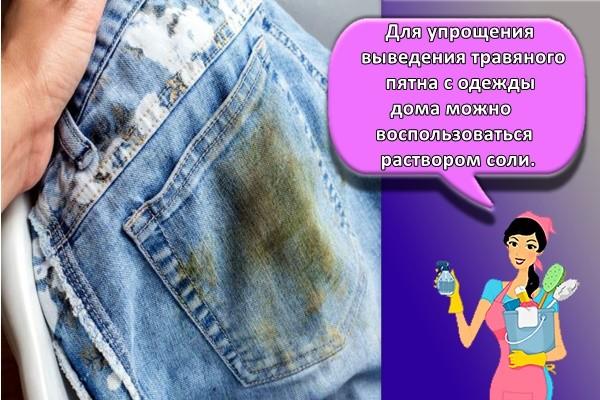 Для упрощения выведения травяного пятна с одежды дома можно воспользоваться раствором соли.