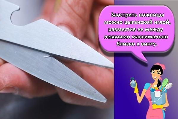 Заострить ножницы можно цыганской иглой, разместив ее между лезвиями максимально близко к винту.