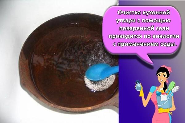 Очистка кухонной утвари с помощью поваренной соли проводится по аналогии с применением соды.