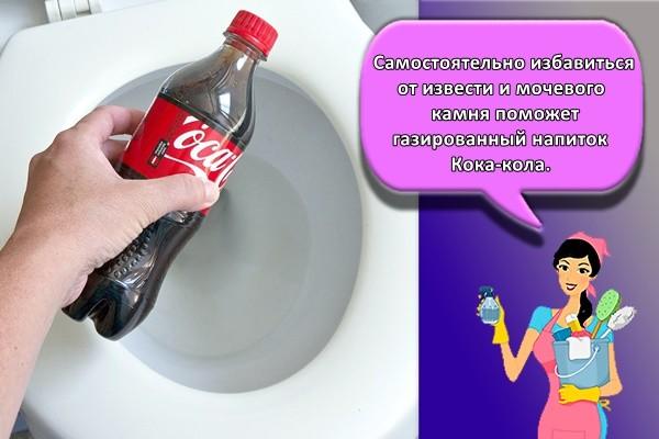 Самостоятельно избавиться от извести и мочевого камня поможет газированный напиток Кока-кола.