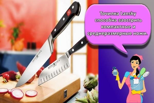 Точилка Lansky способна заострить компактные и среднеразмерные ножи.
