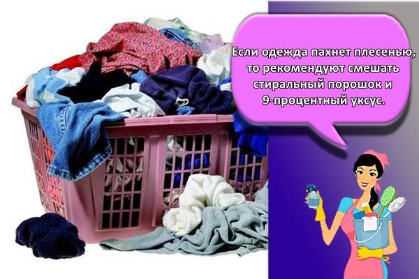 Если одежда пахнет плесенью, то рекомендуют смешать стиральный порошок и 9-процентный уксус