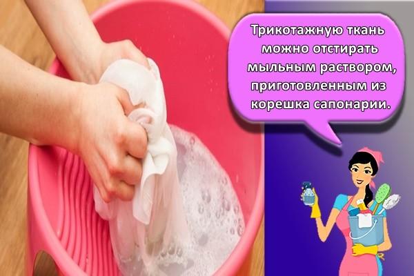 Трикотажную ткань можно отстирать мыльным раствором, приготовленным из корешка сапонарии