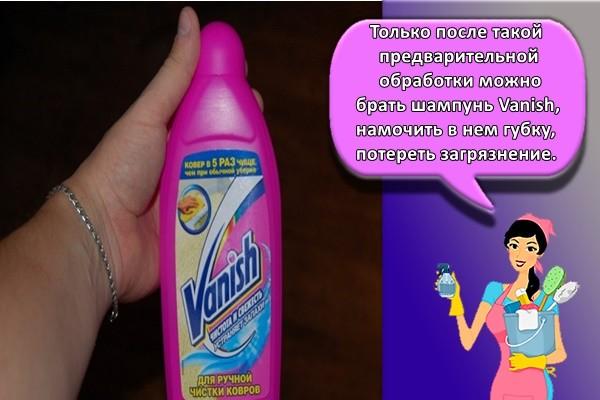 Только после такой предварительной обработки можно брать шампунь Vanish, намочить в нем губку, потереть загрязнение.