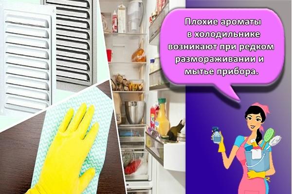 Плохие ароматы в холодильнике возникают при редком размораживании и мытье прибора.
