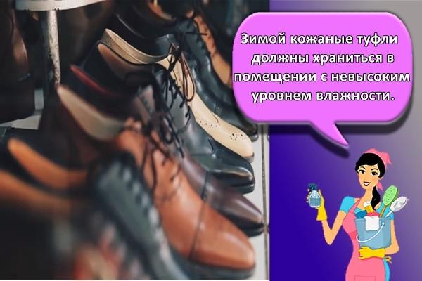 Зимой кожаные туфли должны храниться в помещении с невысоким уровнем влажности.