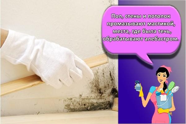Пол, стены и потолок промазывают мастикой, места, где была течь, обрабатывают алебастром.Пол, стены и потолок промазывают мастикой, места, где была течь, обрабатывают алебастром.