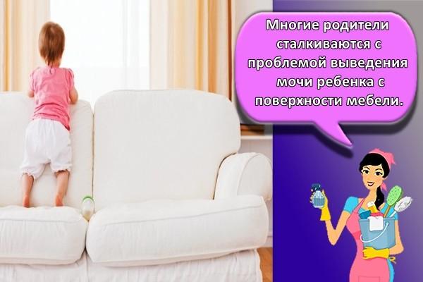 Многие родители сталкиваются с проблемой выведения мочи ребенка с поверхности мебели.