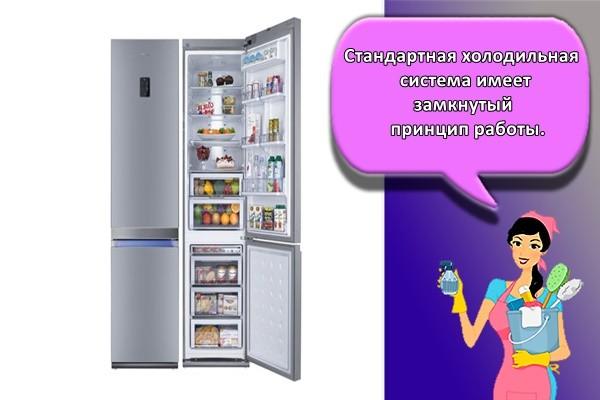 Стандартная холодильная система имеет замкнутый принцип работы.