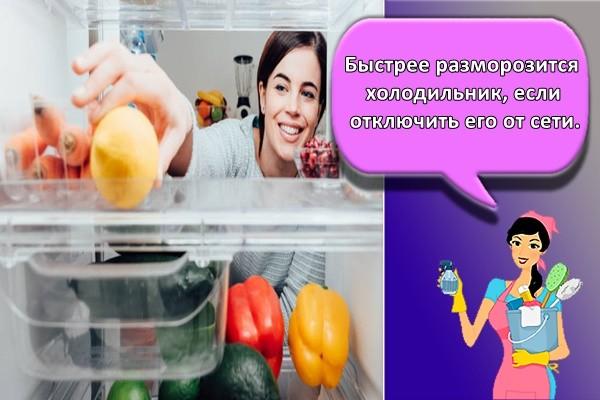 Быстрее разморозится холодильник, если отключить его от сети.