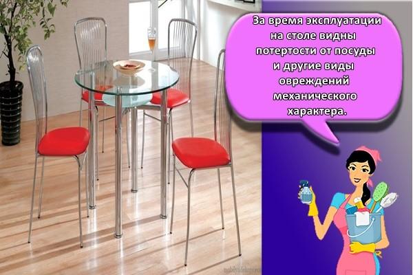 За время эксплуатации на столе видны потертости от посуды и другие виды повреждений механического характера.