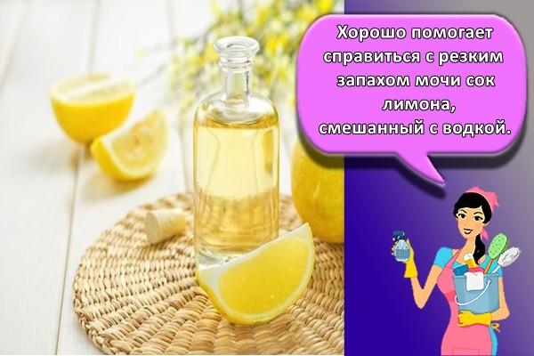 Хорошо помогает справиться с резким запахом мочи сок лимона, смешанный с водкой.