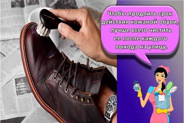Чтобы продлить срок действия кожаной обуви, лучше всего чистить ее после каждого выхода на улицу.