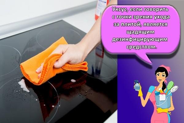 Уксус, если говорить с точки зрения ухода за плитой, является щадящим дезинфицирующим средством.