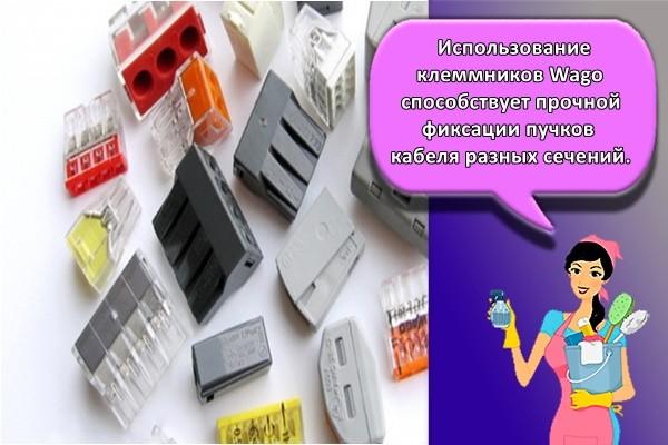 Использование клеммников Wago способствует прочной фиксации пучков кабеля разных сечений.