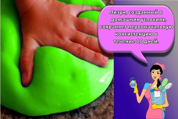 Лизун, созданный в домашних условиях, сохраняет первоначальную консистенцию в течение 10 дней.