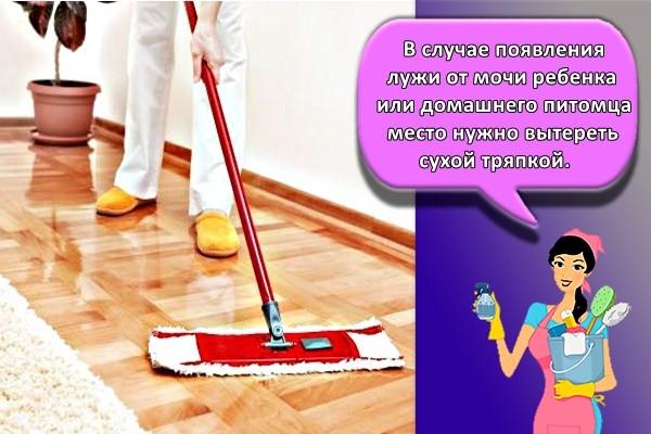 В случае появления лужи от мочи ребенка или домашнего питомца место нужно вытереть сухой тряпкой.