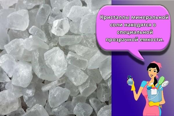 Кристаллы минеральной соли находятся в специальной прозрачной емкости.