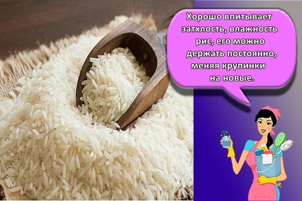 Хорошо впитывает затхлость, влажность рис. Его можно держать постоянно, меняя крупинки на новые.
