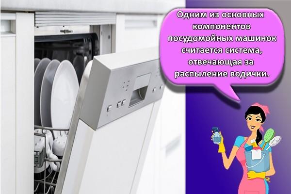 Одним из основных компонентов посудомойных машинок считается система, отвечающая за распыление водички.
