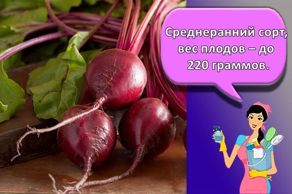 Среднеранний сорт, вес плодов – до 220 граммов.