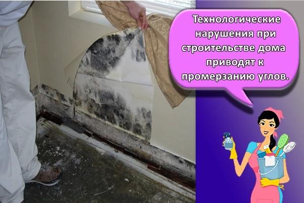 Технологические нарушения при строительстве дома приводят к промерзанию углов.