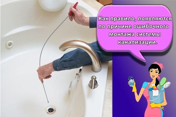 Как правило, появляются по причине ошибочного монтажа системы канализации