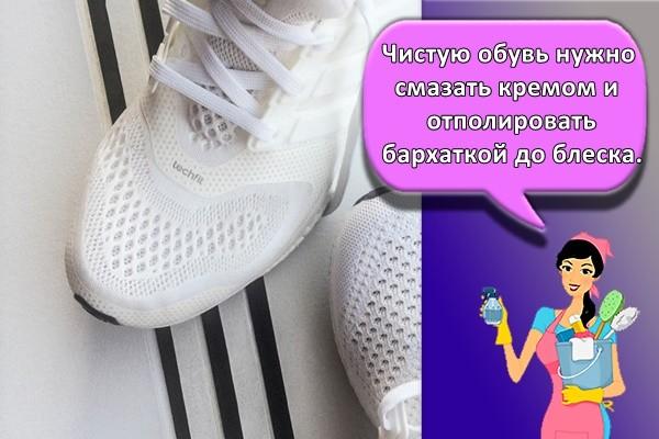 Чистую обувь нужно смазать кремом и отполировать бархаткой до блеска.