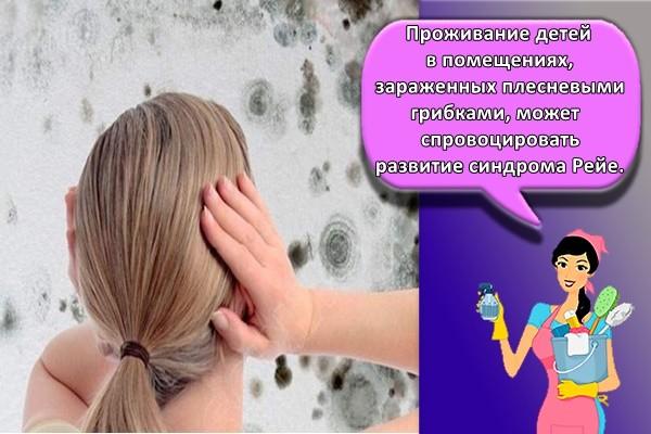 Проживание детей в помещениях, зараженных плесневыми грибками, может спровоцировать развитие синдрома Рейе