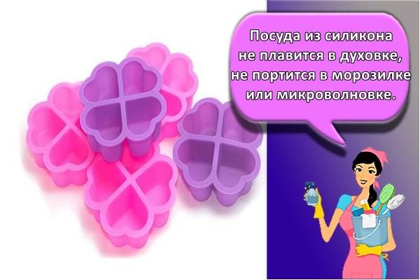 Посуда из силикона не плавится в духовке, не портится в морозилке или микроволновке.