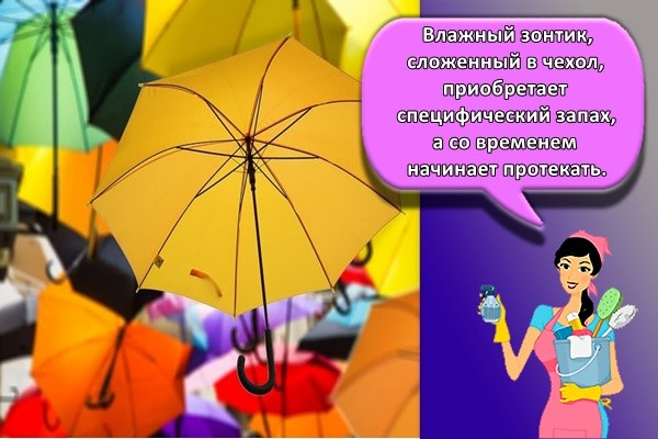 Влажный зонтик, сложенный в чехол, приобретает специфический запах, а со временем начинает протекать.