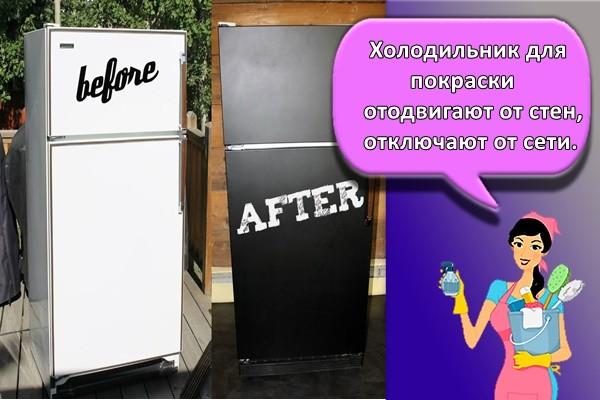 Холодильник для покраски отодвигают от стен, отключают от сети.