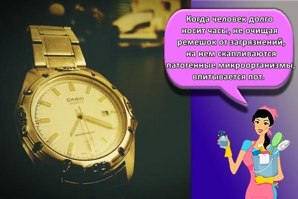 Когда человек долго носит часы, не очищая ремешок от загрязнений, на нем скапливаются патогенные микроорганизмы, впитывается пот.