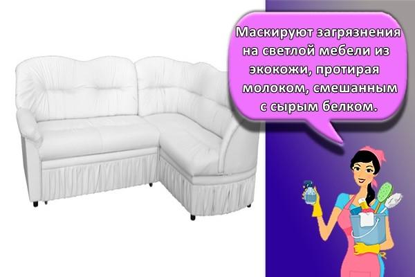 Маскируют загрязнения на светлой мебели из экокожи, протирая молоком, смешанным с сырым белком.