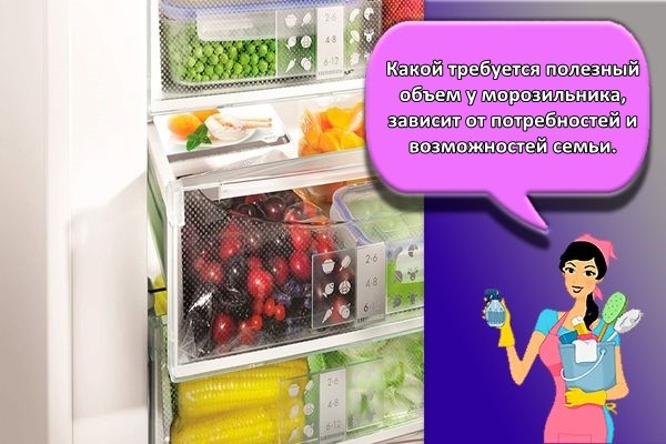 обьем холодильника