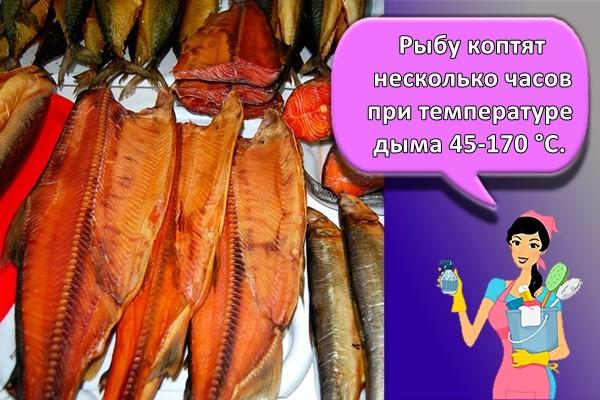 Рыбу коптят несколько часов при температуре дыма 45-170 °C.