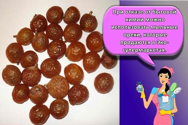 При отказе от бытовой химии можно использовать мыльные орехи, которые продаются в Эко-супермаркетах.