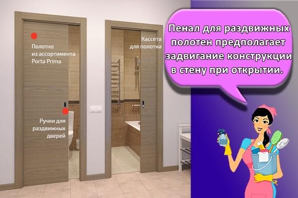 Пенал для раздвижных полотен предполагает задвигание конструкции в стену при открытии.