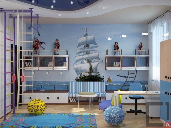 зонирования детской комнаты для разнополых детей стиль морской стиль
