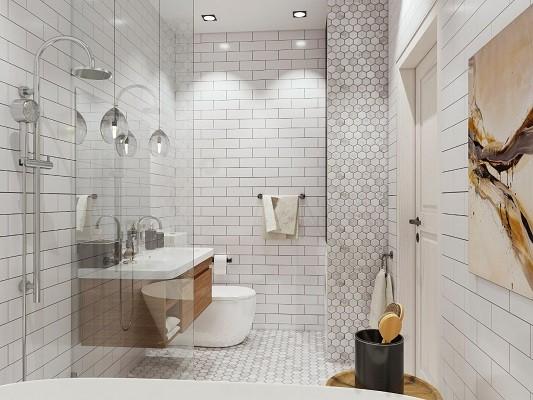 Скандинавский стиль – отличное решение для небольших ванн