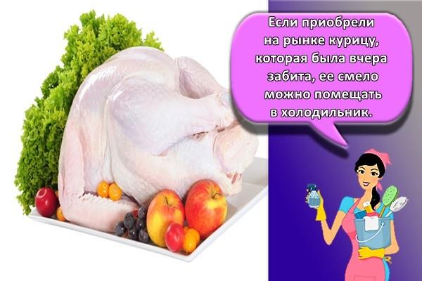 Если приобрели на рынке курицу, которая была вчера забита, ее смело можно помещать в холодильник.