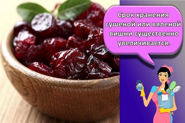 Срок хранения сушеной или вяленой вишни существенно увеличивается.
