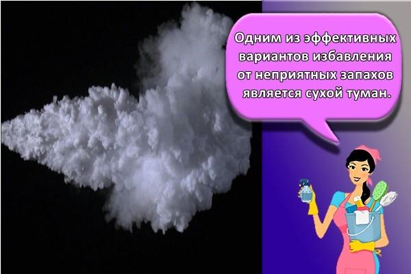Одним из эффективных вариантов избавления от неприятных запахов является сухой туман.