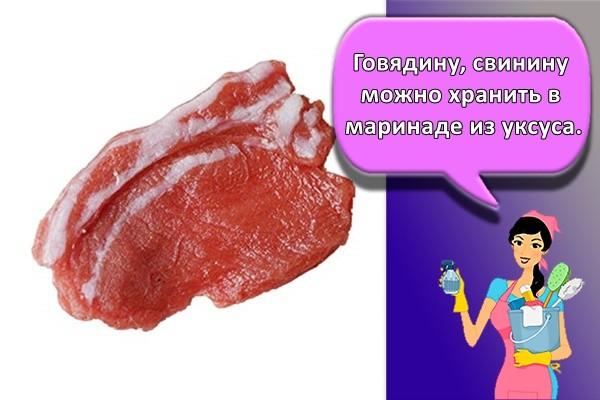 Говядину, свинину можно хранить в маринаде из уксуса