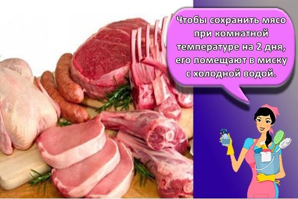 Чтобы сохранить мясо при комнатной температуре на 2 дня, его помещают в миску с холодной водой.