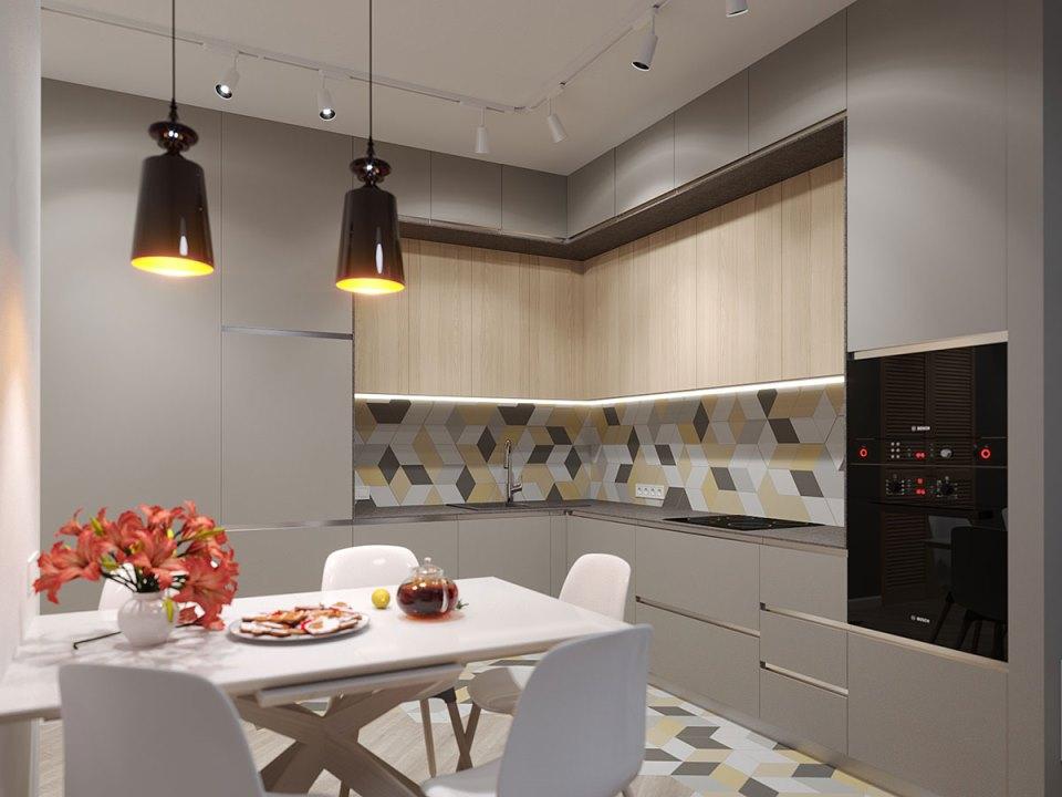 Неяркие столешницы, выполненные в гранитной или пепельной палитре цветов, гармонируют с любыми оттенками фасадов.