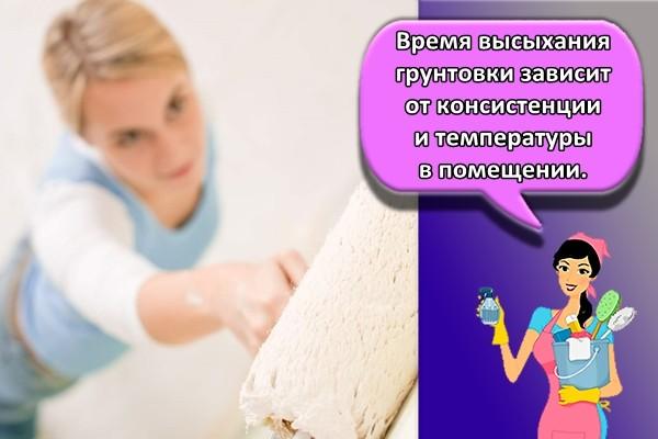 Время высыхания грунтовки зависит от консистенции и температуры в помещении.