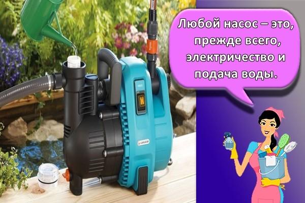 Любой насос – это, прежде всего, электричество и подача воды.