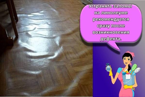 Устранять заломы на линолеуме рекомендуется сразу после возникновения дефекта.